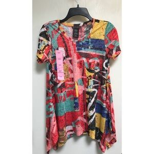 Chelsea and Theodore Multi Color Short Sleeve Top